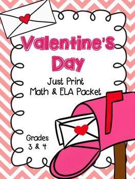 Valentine's Day Just Print Packet Grades 3-4 Math & ELA