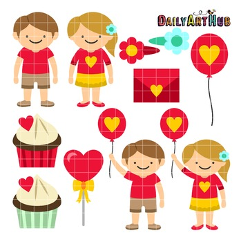 Valentines Day Kids Clip Art - Great for Art Class Projects!