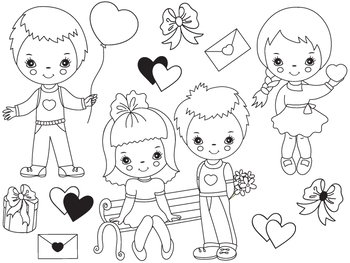 Valentines Day Kids Clipart - Digital Vector Kids, Valenti