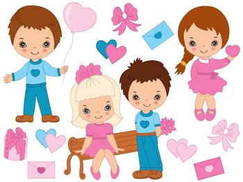 Valentines Day Kids Clipart - Digital Vector Kids, Valentines Day Clip Art