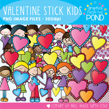 Valentine's Day Stick Kids - Graphics From the Pond