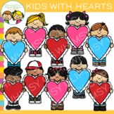 Kids with Hearts Valentine's Day Clip Art