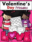 Valentine's Day Kindergarten Math & Literacy Printables