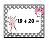 Valentine's Day LOVE MONSTER Two-Digit Addition Task Cards