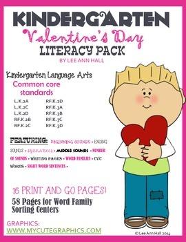 Valentine's Day Language Arts Pack - Kindergarten Common Core