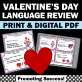 Valentine's Day Grammar Activities, Parts of Speech Task Cards