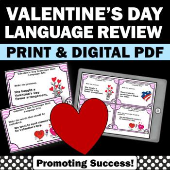 Valentine's Day Grammar Activities, Parts of Speech Task Cards