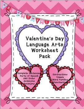 Valentines Language Arts Worksheets Teaching Resources  Teachers