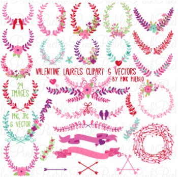 Valentine's Day Laurels Wreaths Clipart Clip Art - Commercial and Personal Use