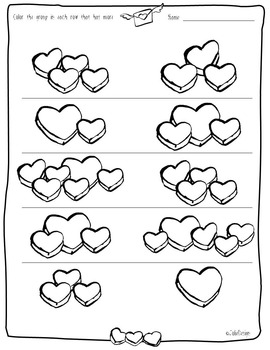 Valentines Day Less More Same PreK or K Worksheets