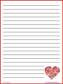 Valentineu0027s Day Lined Writing Paper   10 Colorful Sheets  Lined Stationary Paper