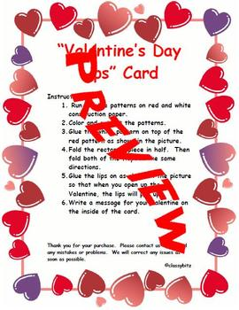 Valentine's Day Lips Card Art Project
