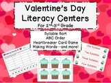 Valentine's Day Literacy Centers - Syllables, ABC Order, M