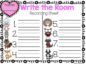 Valentine's Day Literacy Centers (Write the Room and Emergent Reader