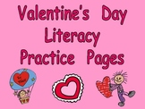 Valentine's Day Literacy Practice Kindergarten- color words, cvc words