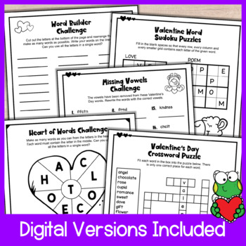 Valentine's Day Activities: Valentine's Day Literacy Puzzle Worksheets