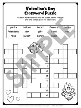 graphic about Valentine's Day Crossword Puzzle Printable identify Valentines Working day No cost: Valentines Working day Things to do: Literacy Puzzle Worksheets