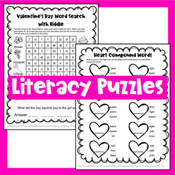 Valentine S Day Activities Valentine S Day Literacy Puzzles And Games