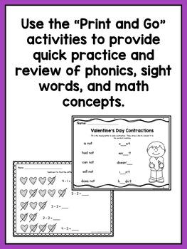 Valentine's Day Centers for Kindergarten & First Grade (Math & Literacy BUNDLE)