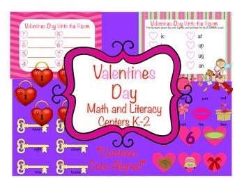 Valentines Day Literacy and Math Centres, Common Core Aligned, CVC Words