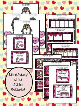 Valentine's Day Literacy and Math Games