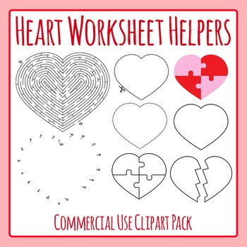 Valentines Day Love Hearts Worksheet Helpers - Commercial Use Clip Art