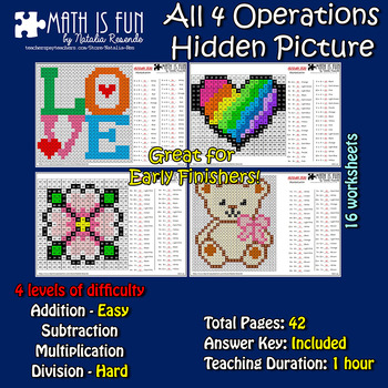 Valentines Day Love - Mystery Picture - 4 operations - Four level difficulty