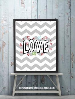 LOVE Chevron Classroom Decor Poster