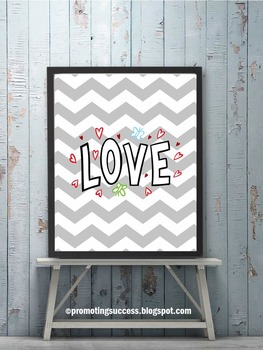 Valentines Day Poster, LOVE Hearts Theme Chevron Classroom Decor 8x10 16x20
