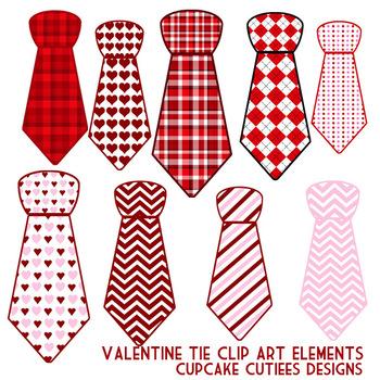 Valentines Day Love Tie Shaped Patterns Digital Clip Art Elements