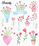 Valentines Day Lovely Bouquet Watercolor Clipart