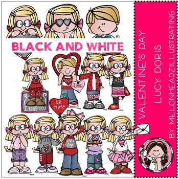 Valentine's Day clip art - Lucy Doris - BLACK AND WHITE- by Melonheadz