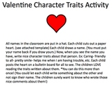 Valentine's Day Luvnotes Character Trait writing activity