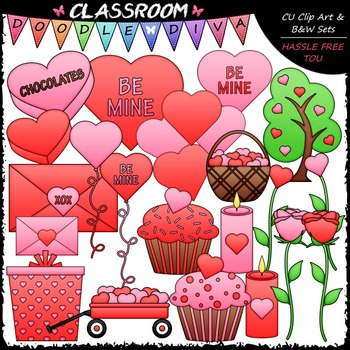 Valentine's Day Clip Art, B&W & Papers Bundle (6 Sets)