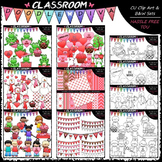 Valentine's Day Clip Art, B&W & Papers Bundle (6 Sets)