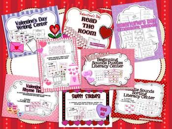 {Valentine's Day} MEGA Pack of 8 Literacy Centers for Kindergarten