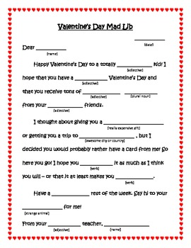 valentine 39 s day mad libs for students parts of speech by teachtothecore. Black Bedroom Furniture Sets. Home Design Ideas