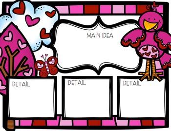 Valentine's Day Main Idea & Detail Graphic Organizer Freebie