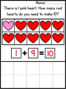 Valentines Day Math Worksheets Addition Making Ten Cut & Paste