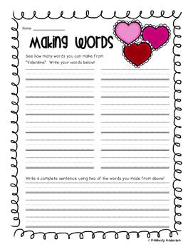Valentine's Day Making Words Activity