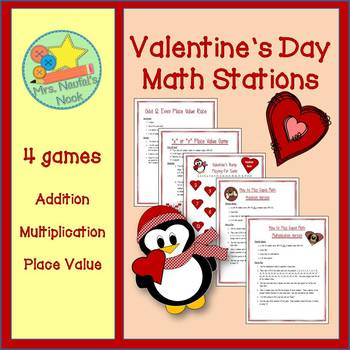 Valentine's Day Math - Addition, Multiplication, Place Value