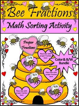 Valentine's Day Activity: Bee Fractions Valentine's Day Math Bundle - Color&BW