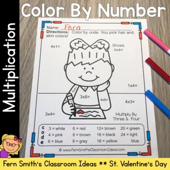 Color By Number St Valentine's Day Multiplication