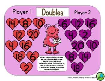 Valentines Day Math - A Doubles Strategy Addition Game - 3 Versions