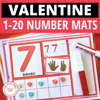 Valentine's Day Math Activities | 1-20 Activity Mats for Preschool and Kinder