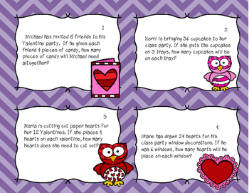Valentine's Day Math Printables and Task Cards (3rd grade)