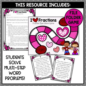 Valentines Day Math Activities: Fraction Operations