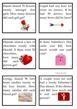Valentine's Day Math Activities Multiplication Division 3rd 4th