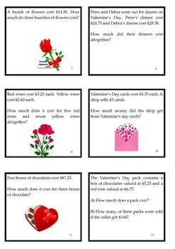 Valentine's Day Math Activities Worded Problems Fractions Decimals Percent