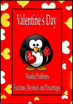 Valentine's Day Math Activities Worded Problems Fractions